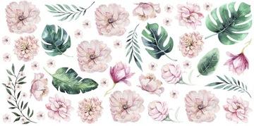 наклейки на стену пионы цветы листья