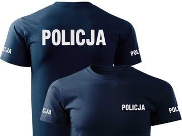 Bawełniana koszulka odblaskowa T-shirt wz. POLICJA