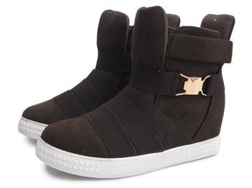 Sneakersy na koturnie Bayla, trampki, botki, moro Vinted
