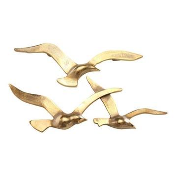 Стильный настенный орнамент летающие птицы золотой КПЛ
