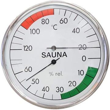 Стальной круглый гигрометр-термометр для сауны