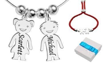 925 Srebrny Naszyjnik Dla Mamy Para Dzieci Grawer