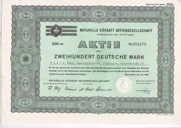 NATURELLA SUDSAFT, именная акция 200 немецких марок 1962 г.