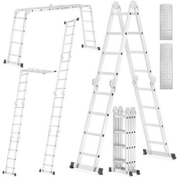 Лестница алюминиевая шарнирно-сочлененная 4х4 ВЫШЕ + площадка