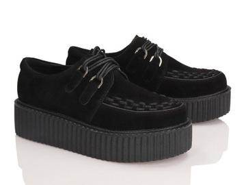 Creepersy zamszowe buty damskie SMITHS czarne 37
