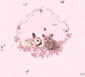 Котята, Зайчики- Розовые ОБОИ-флизелин-AS Cr ...