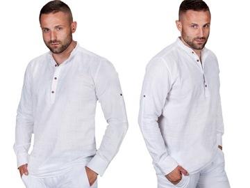 Koszula bawełna lniana biała S.R-1 rozm. S