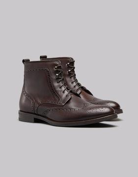 Ciemnobrązowe buty trzewiki 701 skórzane zimowe 41