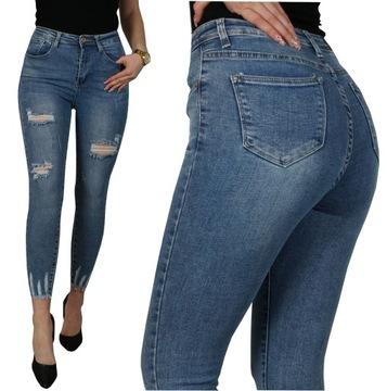 Spodnie Jeansy Z Przetarciami W Jeansy Damskie Moda Damska Na Allegro Pl