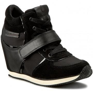 CALVIN KLEIN R8524 Sneakersy NA KOTURNIE CZARNE 37