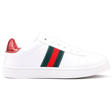 Buty sportowe biało czerwone 1 Popo 37 Biały