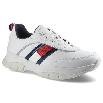 Białe Sneakersy Tommy Hilfiger Damskie Modne Buty