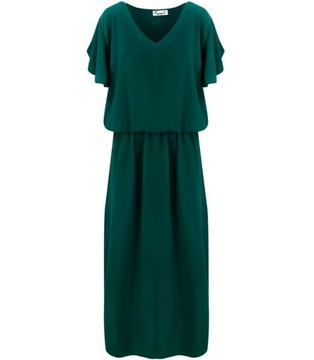 ZWIEWNA Sukienka MAXI z gumką w Pasie 44