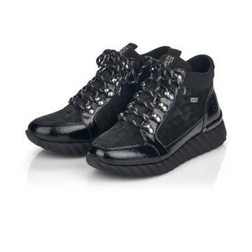 RIEKER - REMONTE Sneakersy czarne ocieplane D5978