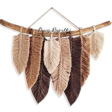 бохо ловец снов украшение макраме листья перья