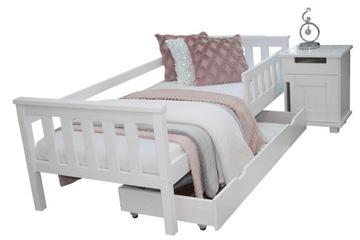 Белая детская кровать ASIA 80x160 A барьерный матрас