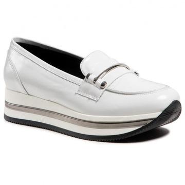 białe skórzane sneakersy gruba podeszwa Karino 38