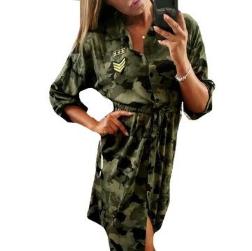 Sukienka Militarna Moro khaki Pagony L XL guziki