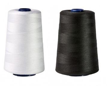 Нитки для швейных машин БЕЛЫЕ + ЧЕРНЫЕ 5000м