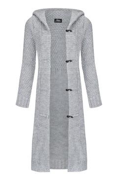 Mikos Damski długi sweter kardigan z kapturem 988