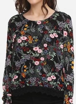 H&M 40 L Wzorzysty sweter z koronką kwiaty