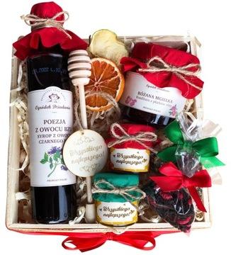 Набор в корзине для чая. Подарок на День Рождения Мед.