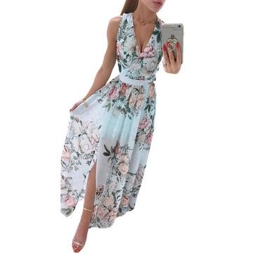 Zwiewna sukienka w kwiaty z rozcięciem maxi 44 XXL