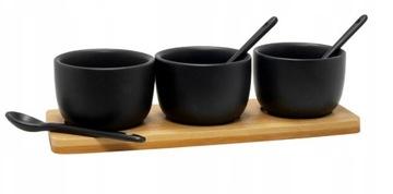 Чаши для дип-соусов ЧЕРНЫЙ с бамбуковой доской