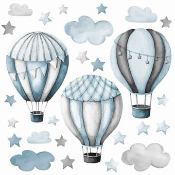 БОЛЬШИЕ настенные наклейки синие шары и облака