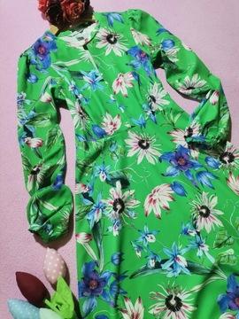 Sukienka retro rozkloszowana kwiaty H&M 34-36