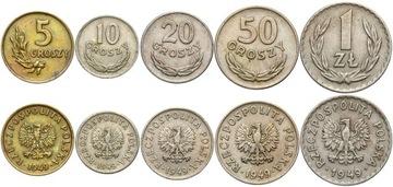 Набор PRL 5, 10, 20, 50 Groszy + 1 Gold 1949 MN