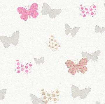 Бабочки- Розово-серые, ОБОИ на флисе-AS Creation
