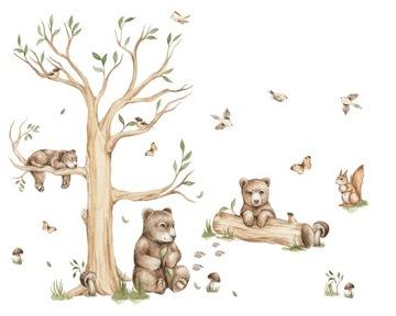 Наклейки на стену в лесу BEAR FAMILY XL
