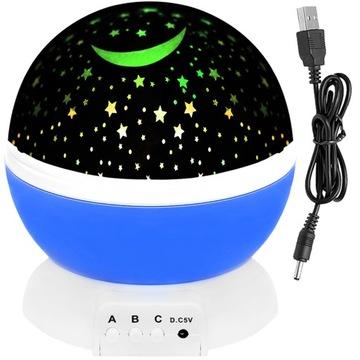 Вращающийся ночник проектор со звездами голубого неба