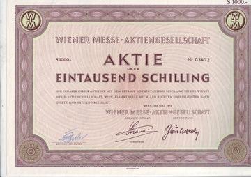 Wiener Messe, акция на 1000 шиллингов, 1958 год.