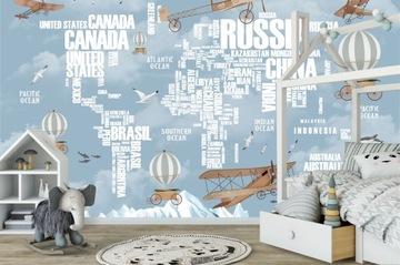 Фотообои детские 3д, по размеру, карта мира,