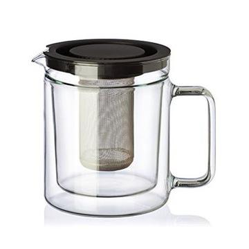 Стеклянный кувшин с двойным дном для заварки чая 1 л