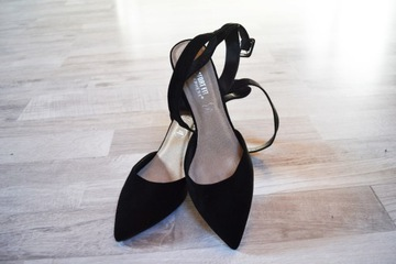 Czarne buty na obcasie sandały szpilki 42 czółenka