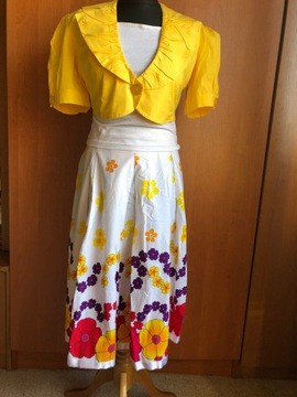 HIT2021 Żółty Bufki+spódnica kwiaty+crop top 40/42