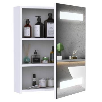 Купить HOMCOM Подвесной шкафчик для ванной комнаты со светодиодным зеркалом 15 Вт на Otpravka - цены и фото - доставка из Польши и стран Европы в Украину.