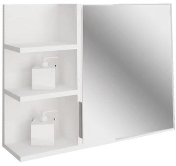 Белая полка шкаф для ванной с зеркалом подвешивание