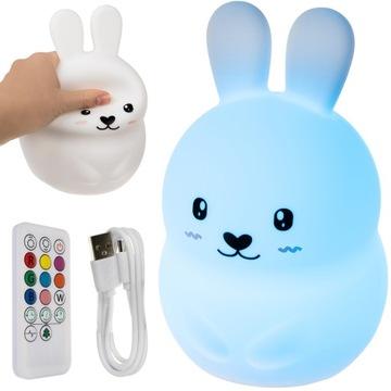 Светодиодная прикроватная лампа для детей, Rabbit RGB + Remote