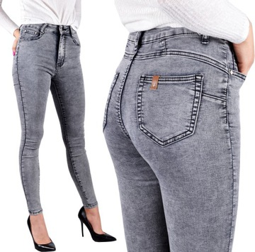 Spodnie Jeansy Wysoki Stan Jeansowe Push-Up Skinny
