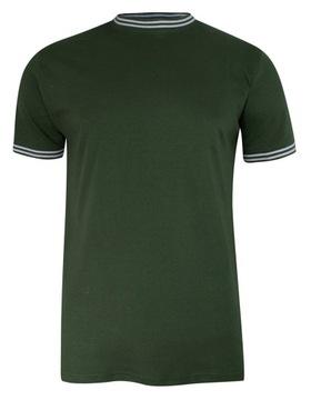 Zielony Męski T-shirt z Lamówką -Brave Soul- L