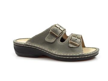 zdrowotne klapki OrtoMed skórzane medyczne buty