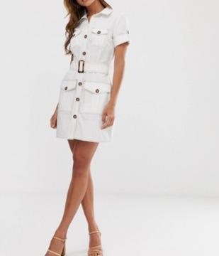 river island design sukienka damska M 38 biała