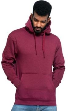 Bluza męska z kapturem kangurka burgund L
