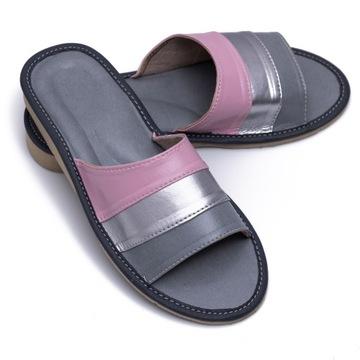 pantofle domowe damskie kapcie papcie laczki skóra