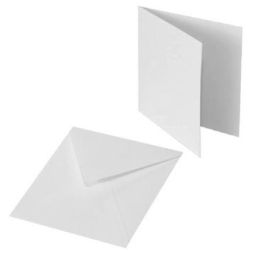 Конверт и основа для открытки - белые 15х15