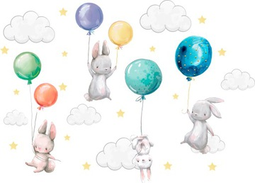 Наклейки на стену Зайчики воздушные шары для детей 100